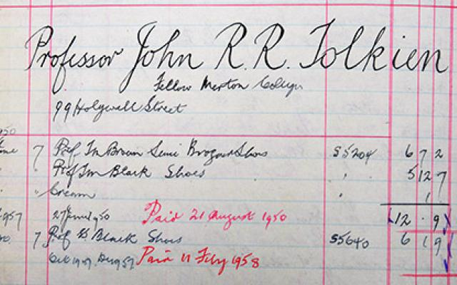Image of JRR Tolkien ledger from Duckers & Son, courtesy of Mallams