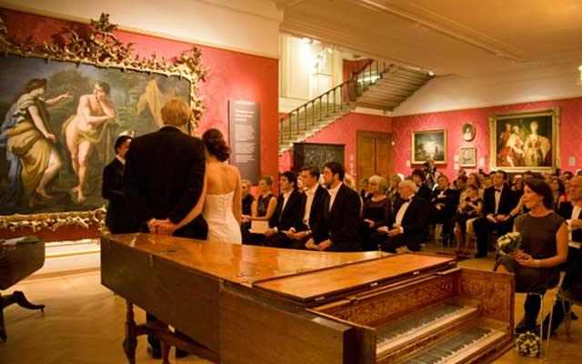 Wedding ceremony in the Mallet Gallery, Ashmolean Museum