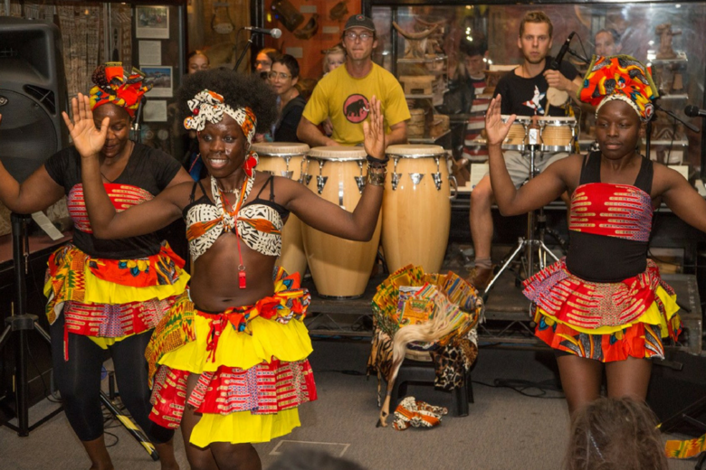 African dance group performing at the Pitt Rivers Museum for the Identity Without Borders project