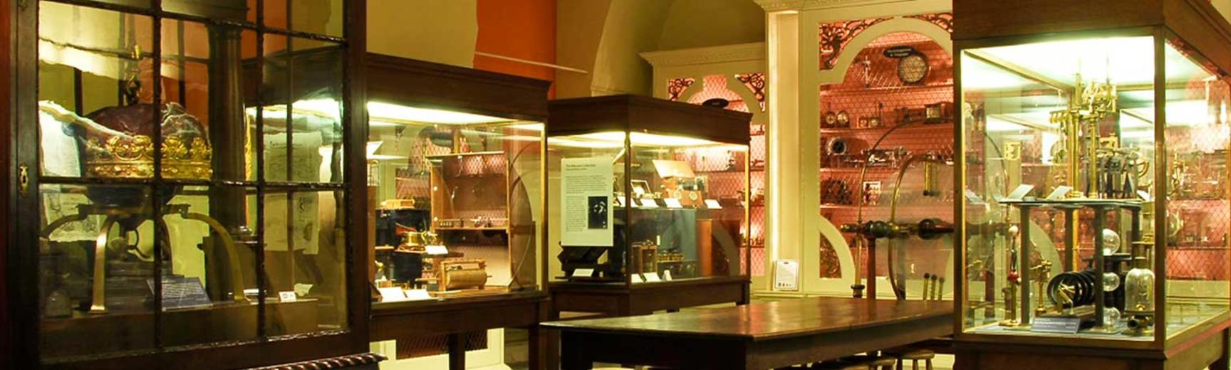 View of display cases at the Museum of the History of Science