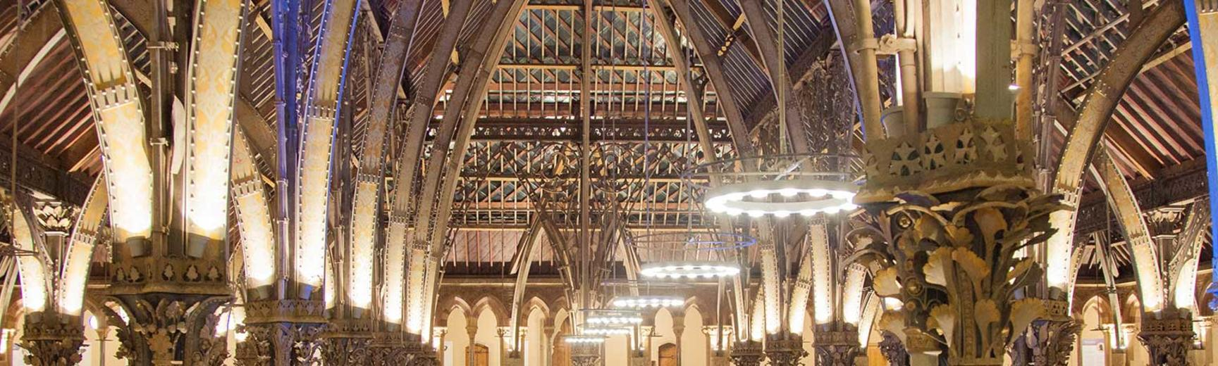 Interior view of roof with lighting, neo-gothic iron work, Museum of Natural History