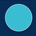 Turquoise circle with white edge on dark blue