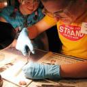 Volunteer doing science experiment with children