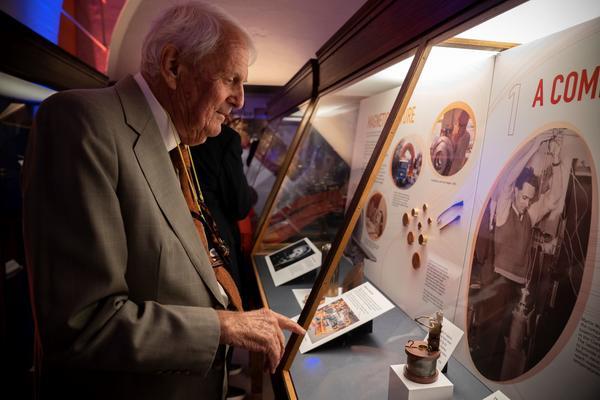 Sir Martin Wood at the Oxford Instruments display