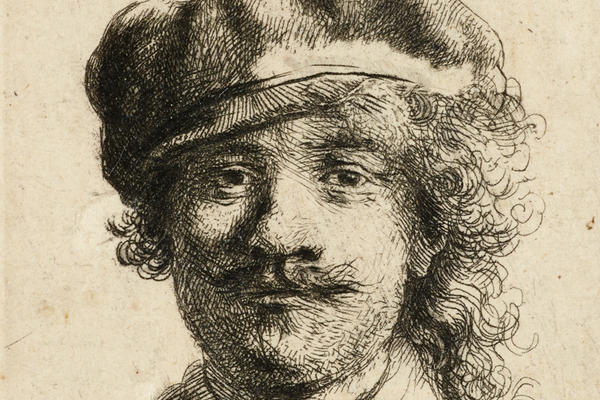 Rembrandt self-portrait drawing