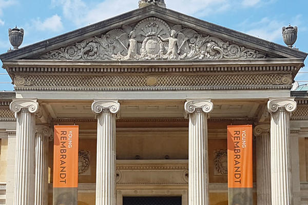 Ashmolean Museum with Young Rembrandt exhibition banners