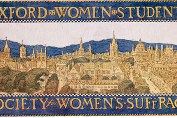 Banner of the Oxford Women Students' Society for Women's Suffrage