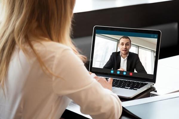 Person having video interview