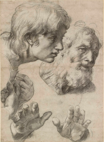 Raphael, The heads and hands of two apostles (black chalk with over-ounved uderdrawing with some white heigtening)
