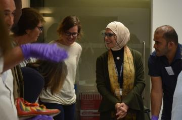 Collections officer Rana Ibrahim and Multaka volunteers welcome visitors to the Pitt Rivers' research space