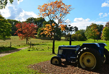 Tractor at work at the University of Oxford's Harcourt Arboretum