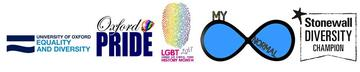 Logos: Oxford University Equality and Diversity Unit; Oxford Pride; LGBT History Month; My Normal; Stonewall