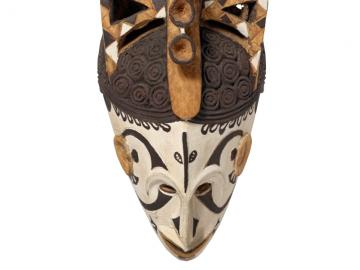 Painted wooden maiden mask